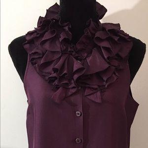 J. Crew plum ruffle collar silk shirt size 8